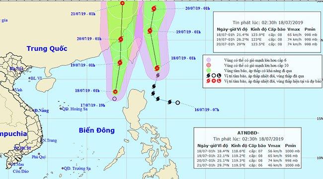 Vị trí và đường đi của bão và áp thấp nhiệt đới.