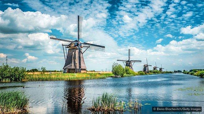 1/3 diện tích Hà Lan thấp dưới mực nước biển.