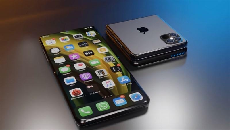 Rò rỉ iPhone màn hình gập thiết kế giống Galaxy Z Flip ảnh 1