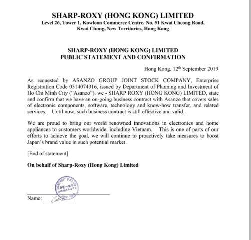 Bị Sharp Việt Nam cáo buộc giả mạo hợp đồng kinh doanh: Asanzo nói hoàn toàn bất ngờ