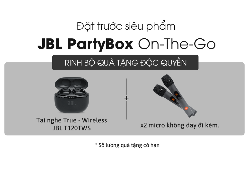 """Đặt trước loa JBL PartyBox On-The-Go """"rinh"""" cặp mic không dây và tai nghe true wireless ảnh 2"""