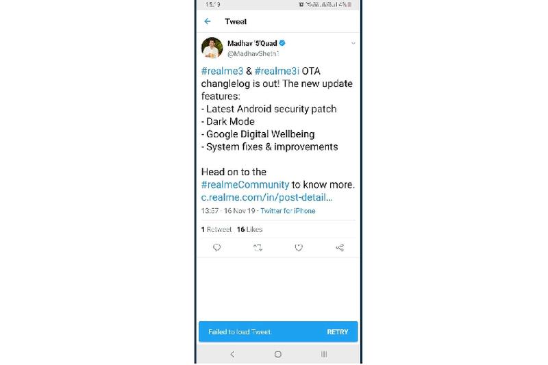 CEO Realme bi phat hien dang bai tren Twitter bang iPhone