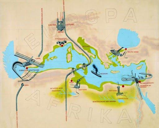 Minh họa hệ thống thủy điện - cầu ngang qua các eo biển nhằm kết nối châu Âu - châu Phi.