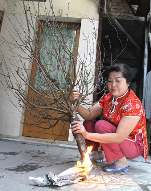 Người dân đốt gốc để giữ đào được lâu hơn.