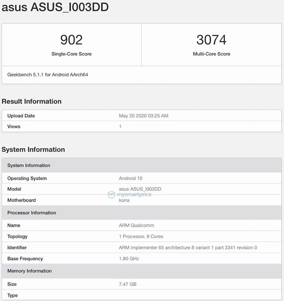 ASUS ROG Phone 3 xuất hiện trên Geekbench với chip Snapdragon 865 ảnh 1