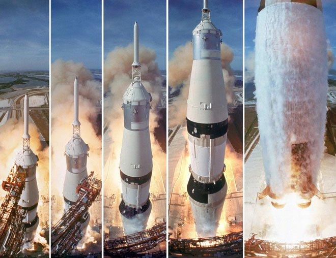 Hiện Mỹ đang nắm giữ hệ thống tên lửa đẩy có tên Saturn V mạnh nhất trong lịch sử.