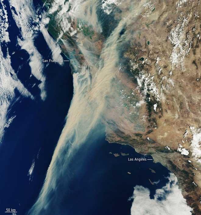 Vệt khói từ đám cháy rừng trên mặt Thái Bình Dương do vệ tinh Copernicus Sentinel-3 chụp lại.