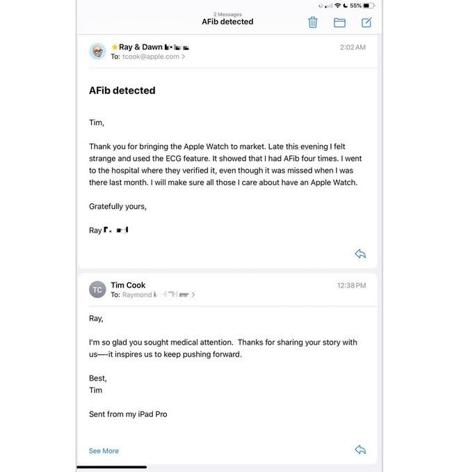 Khách hàng cảm ơn vì được Apple Watch cứu sống, CEO Tim Cook lập tức gửi mail cảm ơn khách hàng - Ảnh 2.