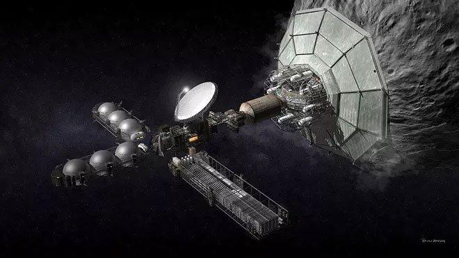 Concept thiết bị khai khoáng thiên thạch.