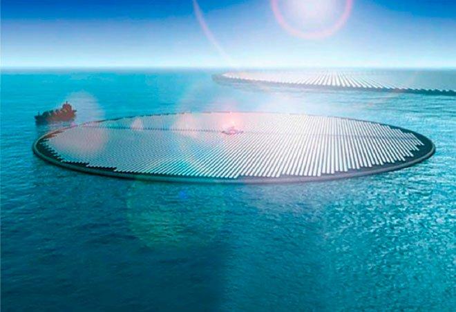 Các tấm năng lượng Mặt Trời tạo điện, cùng lúc đó điện phân nước để tách ra hydro.