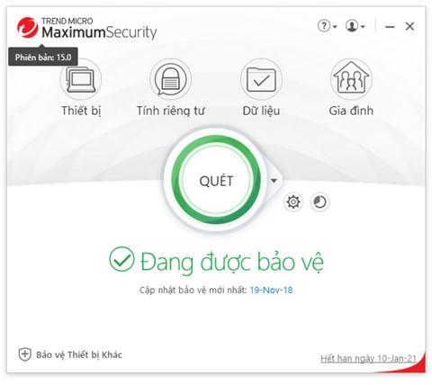 Giao diện làm việc của phiên bản Trend Micro Security 15