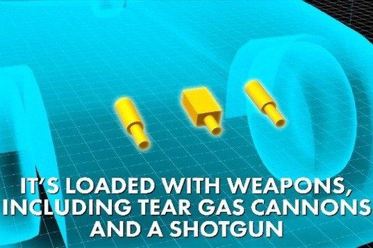 The Beast được trang bị hệ thống tự vệ gồm súng phóng lựu, đèn pha nhìn đêm quang học