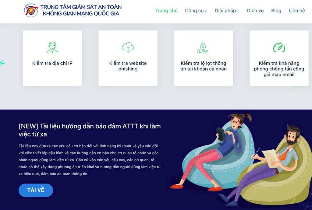 Loạt giải pháp hỗ trợ cơ quan, tổ chức đảm bảo an toàn thông tin khi làm từ xa | Ra mắt website Khonggianmang.vn hỗ trợ đảm bảo an toàn khi làm từ xa | Ra mắt website Khonggianmang.vn của Trung tâm Giám sát an toàn không gian mạng quốc gia