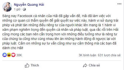 Quang Hải bị hack Facebook, lộ đoạn tin nhắn nhạy cảm về chuyện yêu đương - Ảnh 2.