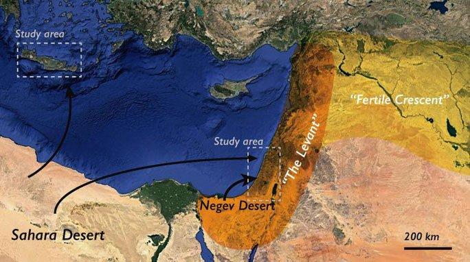 Sơ đồ di chuyển của bụi trên Trái đất 200.000 năm trước