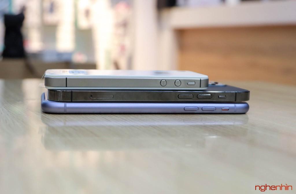 Ngoại hình iPhone 12 Pro khi đứng cạnh 'ông lão' iPhone 4S và đàn anh iPhone 11 ảnh 4