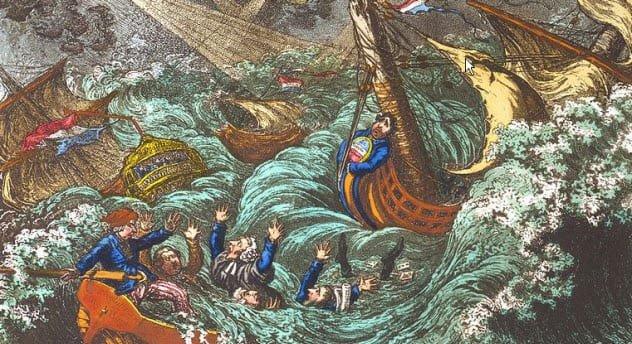 Bão đột nhiên xuất hiện, đẩy toàn bộ hơn 100 tàu chiến của nhà vua Tây Ban Nha ra xa khỏi Plymouth