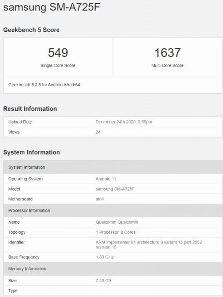 Samsung Galaxy A72 4G xuất hiện trên Geekbench, vẫn còn phiên bản 5G ảnh 2