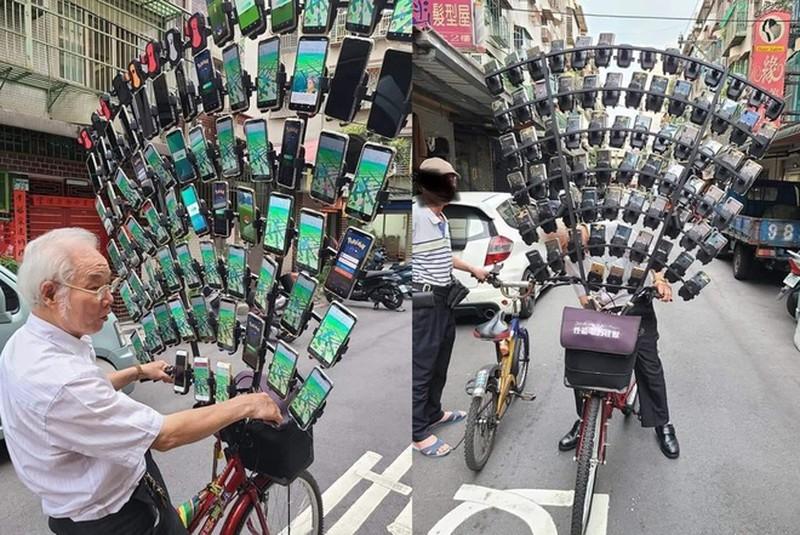 Ong cu dung 64 smartphone de choi Pokemon Go