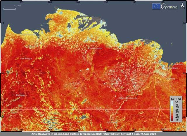 Tấm hình ghi lại nhiệt độ trên mặt đất của vùng Siberia thuộc Nga.