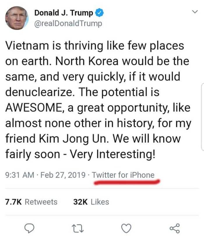 Twitter mới được đăng của Tổng thống Trump tại Việt Nam.