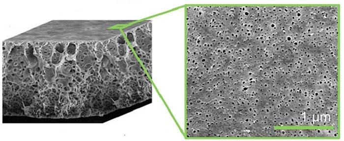 Hình ảnh kính hiển vi điện tử của các lỗ rỗng của một chai PET (trái) và của màng lọc (phải).