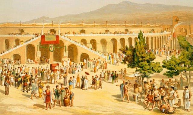 Phục dựng cảnh quảng trường buôn bán của người La Mã