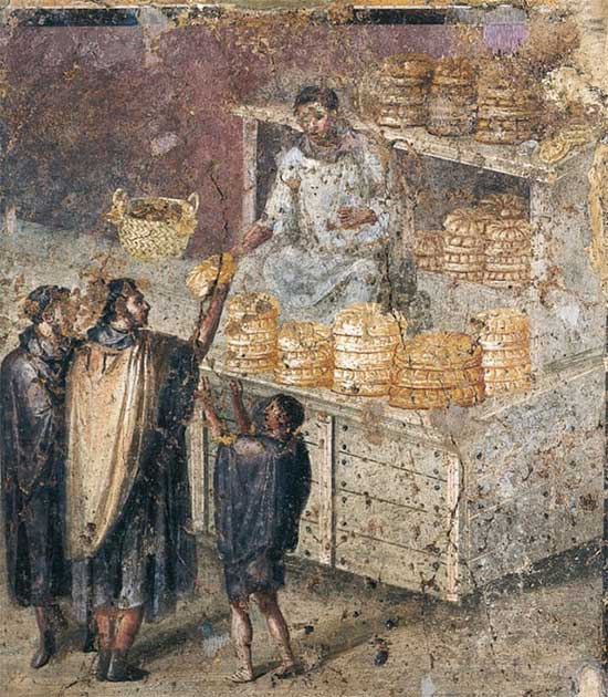 Một bức họa mô tả công việc chia bánh mỳ trước hiên nhà ở Pompeii.