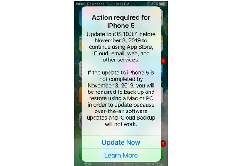 iPhone 5 phai cap nhat iOS 10.3.4 de khong thanh cuc gach