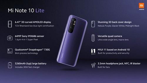 Xiaomi Mi Note 10 Lite ra mắt: Snapdragon 730G, pin 5.260 mAh sạc nhanh 30W, giá từ 379 USD