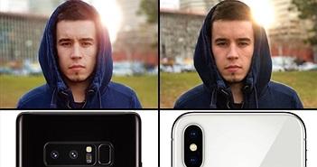 So nhanh ảnh chụp từ iPhone X và Galaxy Note 8