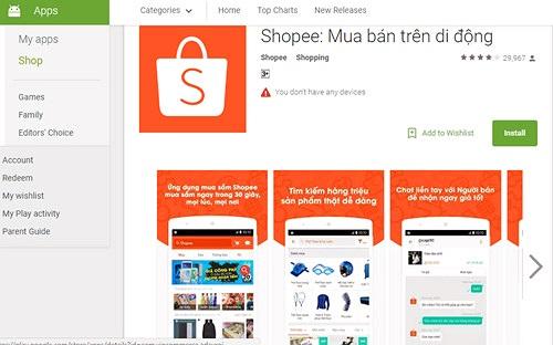 Ứng dụng mua bán trên di động Shopee có thêm 5 triệu lượt tải
