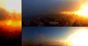 Vật thể lạ nghi UFO xuất hiện trong bình minh ở Mexico