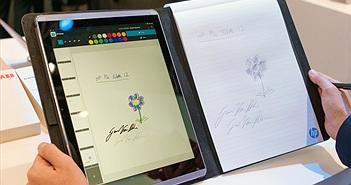 """[MWC 2015] Trên tay tablet HP Pro Slate 12"""" với công nghệ bút sóng siêu âm"""