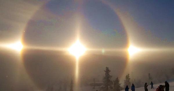 """Hiện tượng """"Mặt trời ma"""" hiếm gặp trên bầu trời Thụy Điển"""