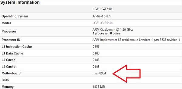 Lộ diện thiết bị mới của LG chạy vi xử lý Snapdragon 810