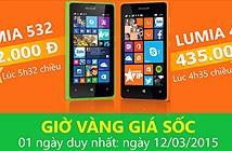 4h35 chiều 12/3 giá Lumia 435 chỉ còn 435.000VNĐ