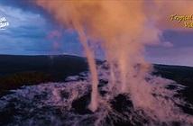 Vòi rồng cao trăm mét bên miệng núi lửa Hawaii