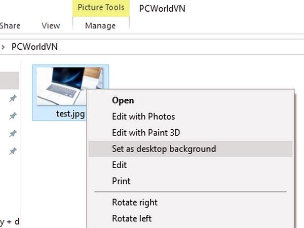 Windows 10: Cách đơn giản để gỡ bỏ trình đơn Set as desktop background