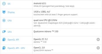 Lộ cấu hình chiếc OnePlus 3 Mini trên GFXBench: màn hình 4.6 inch, cấu hình rất mạnh mẽ