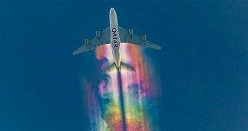Cầu vồng rực rỡ trên bầu trời Đức do máy bay tạo ra