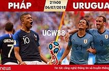 Xem trực tiếp bóng đá World Cup 2018 Uruguay vs Pháp trên VTV6, VTV6 HD