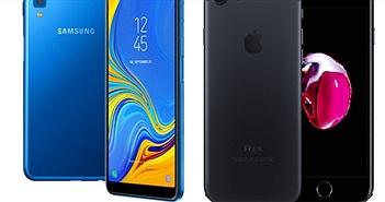 """iPhone 7 """"lướt"""" có đáng mua hơn Galaxy A7 (2018) mới?"""