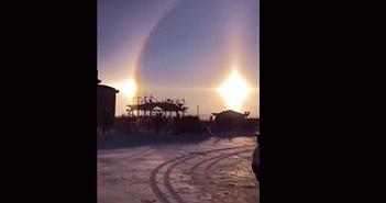 Sửng sốt 3 mặt trời xuất hiện cùng lúc trước năm mới 2020