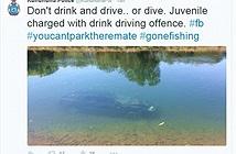 Cảnh sát đăng ảnh ôtô tắm sông trên MXH để nhắc khéo người dân