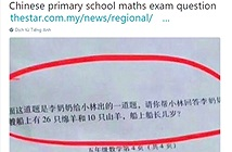 Dân mạng Trung Quốc đang xôn xao với bài toán mẹo của học sinh lớp 5