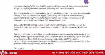 """Apple viết thư lên Quốc hội Mỹ """"thanh minh"""" không hề có chip gián điệp trong hệ thống máy chủ"""