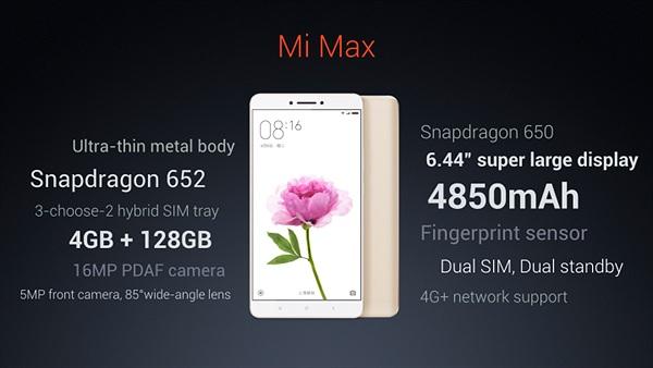 Xiaomi Mi Max chính thức trình làng: Pin 4850mAh, bộ nhớ 128GB