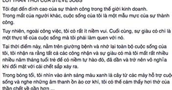 Lời trăn trối giả mạo của Steve Jobs ồn ào Facebook Việt