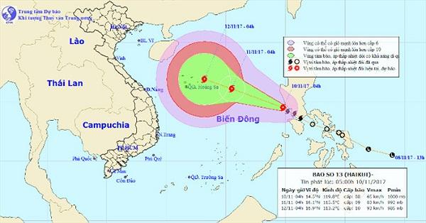 Áp thấp nhiệt đới mạnh lên thành bão Haikui